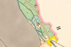 Na posledním plánku z roku 1842 je celá situace. Okolní budovy kolem hlavního mlýna byly ještě všechny dřevěné. Dole žlutě značena katastrální hranice Litvínova.glokmlyn12