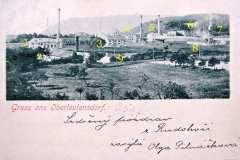 Pohlednice z let 1902 - 1908 1. elektrárna 2. mlýn (pila) 3. továrna na klobouky 4. domy patřící továrně ? 5. textilka E. G. Pick 6. textilka Schick 7. admin. budova továrny E .G. Pick (zachována) 8. ubytovna pro dělníky továrny F. Keller 9. Pilařský rybník
